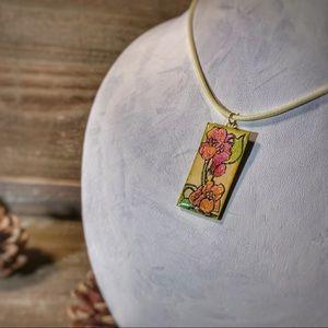 Jewelry - Watercolor Floral Tile Pendant Necklace